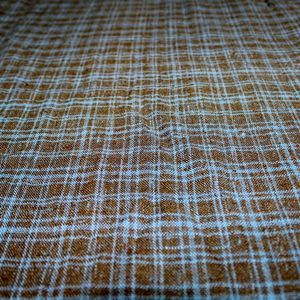 Brown Blue Plaid Vintage Fabric Material 2 yard+